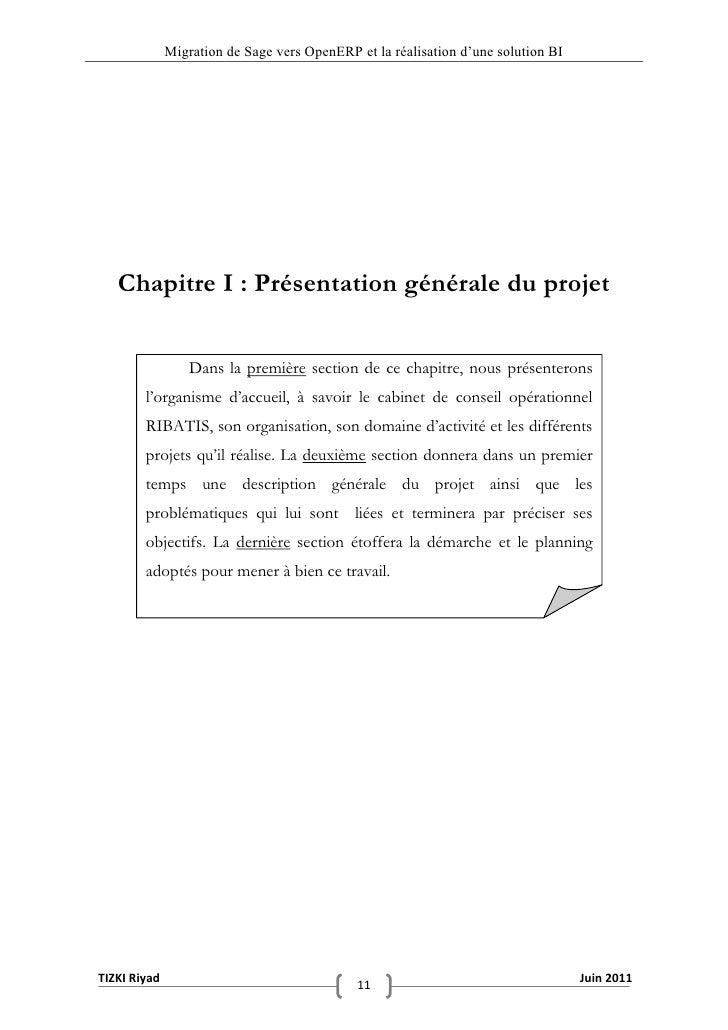 """Migration de Sage vers OpenERP et la réalisation d""""une solution BI   Chapitre I : Présentation générale du projet         ..."""
