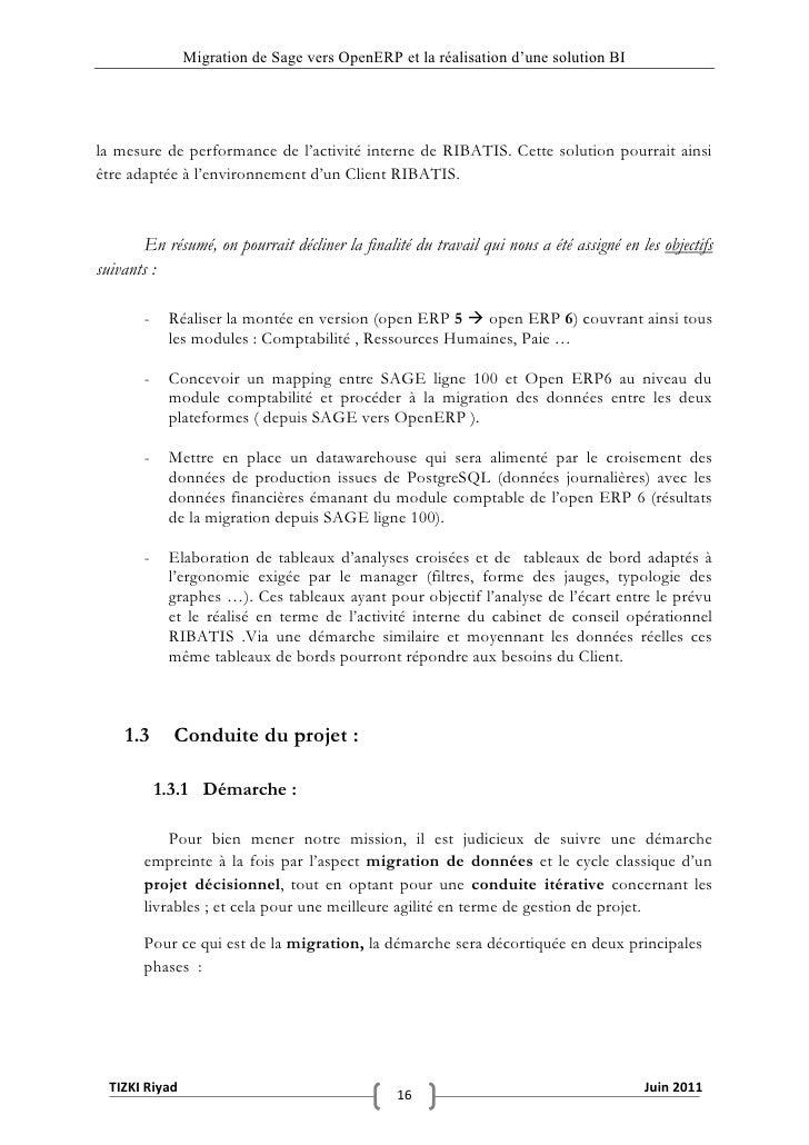 """Migration de Sage vers OpenERP et la réalisation d""""une solution BIla mesure de performance de l'activité interne de RIBATI..."""