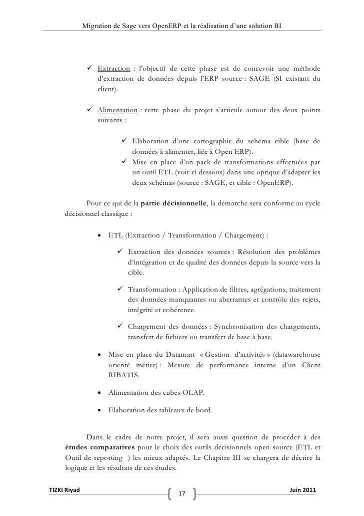 """Migration de Sage vers OpenERP et la réalisation d""""une solution BI                Extraction : l'objectif de cette phase ..."""