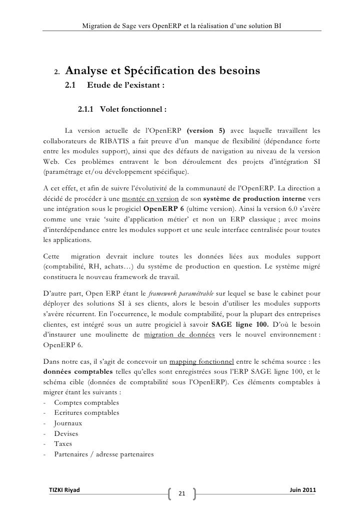 """Migration de Sage vers OpenERP et la réalisation d""""une solution BI   2.   Analyse et Spécification des besoins        2.1 ..."""