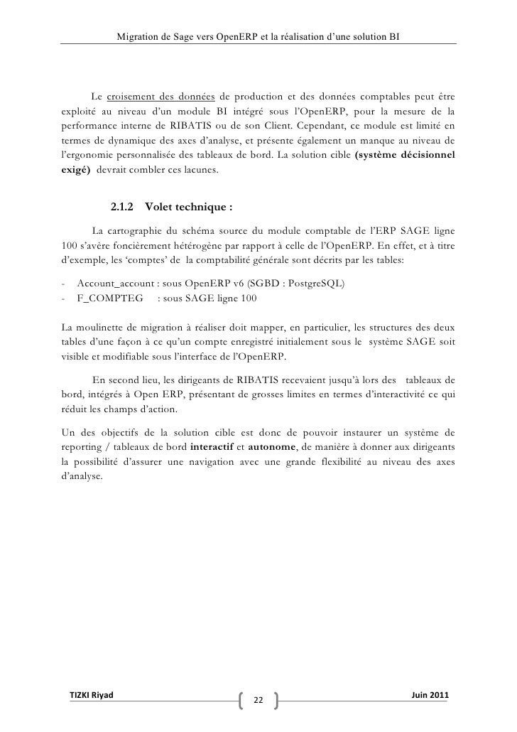 """Migration de Sage vers OpenERP et la réalisation d""""une solution BI       Le croisement des données de production et des do..."""