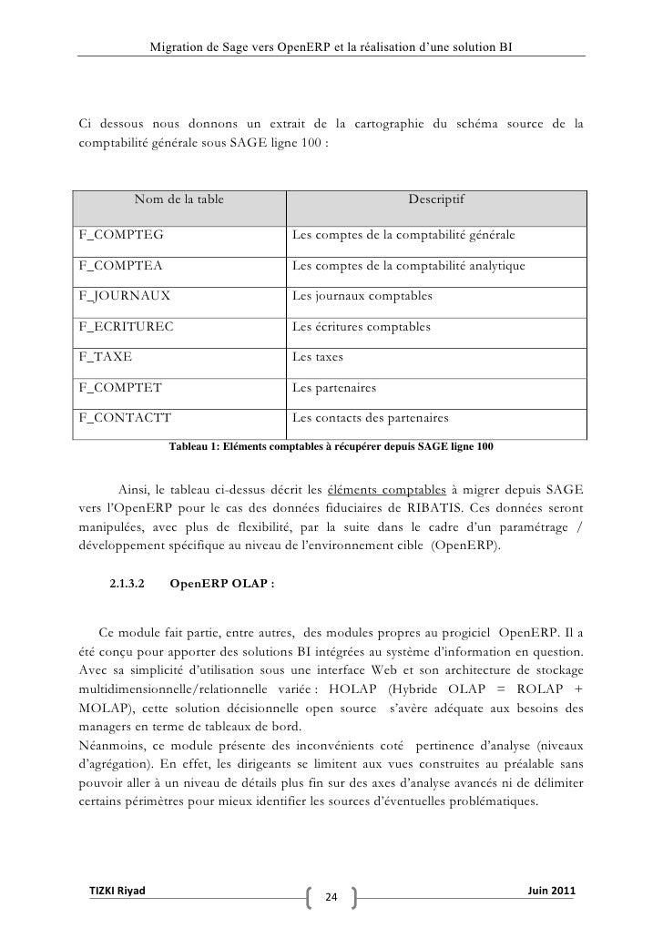 """Migration de Sage vers OpenERP et la réalisation d""""une solution BICi dessous nous donnons un extrait de la cartographie du..."""