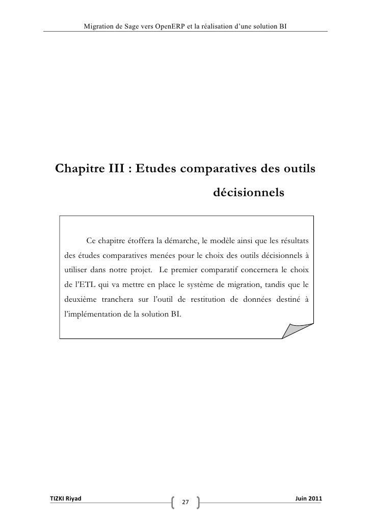"""Migration de Sage vers OpenERP et la réalisation d""""une solution BI Chapitre III : Etudes comparatives des outils          ..."""