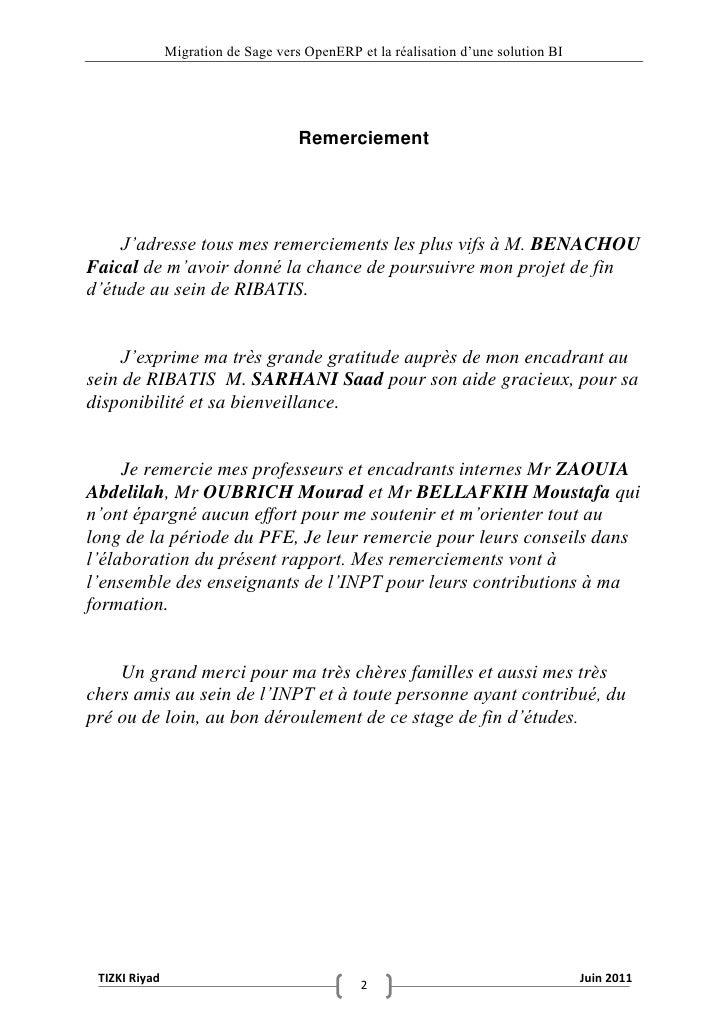 """Migration de Sage vers OpenERP et la réalisation d""""une solution BI                                     Remerciement    J'a..."""