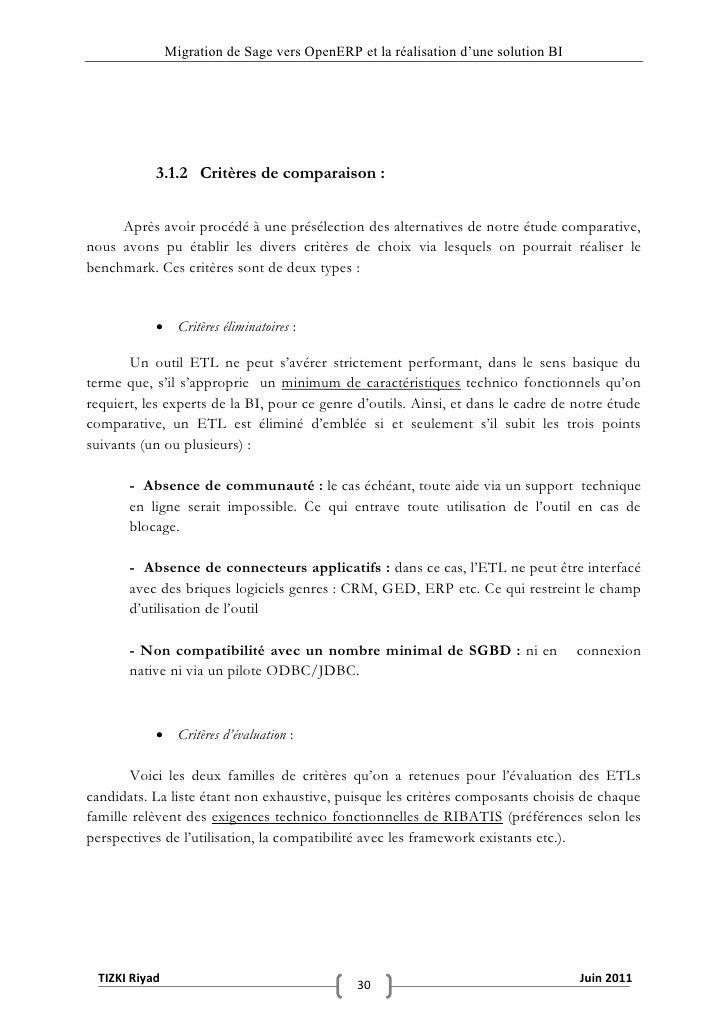 """Migration de Sage vers OpenERP et la réalisation d""""une solution BI           3.1.2 Critères de comparaison :     Après avo..."""
