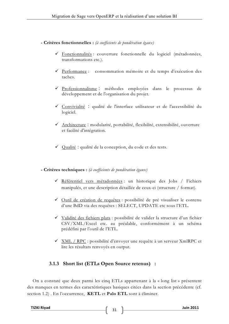 """Migration de Sage vers OpenERP et la réalisation d""""une solution BI       - Critères fonctionnelles : (à coefficients de po..."""