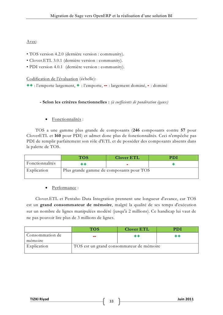 """Migration de Sage vers OpenERP et la réalisation d""""une solution BIAvec:• TOS version 4.2.0 (dernière version : community)...."""