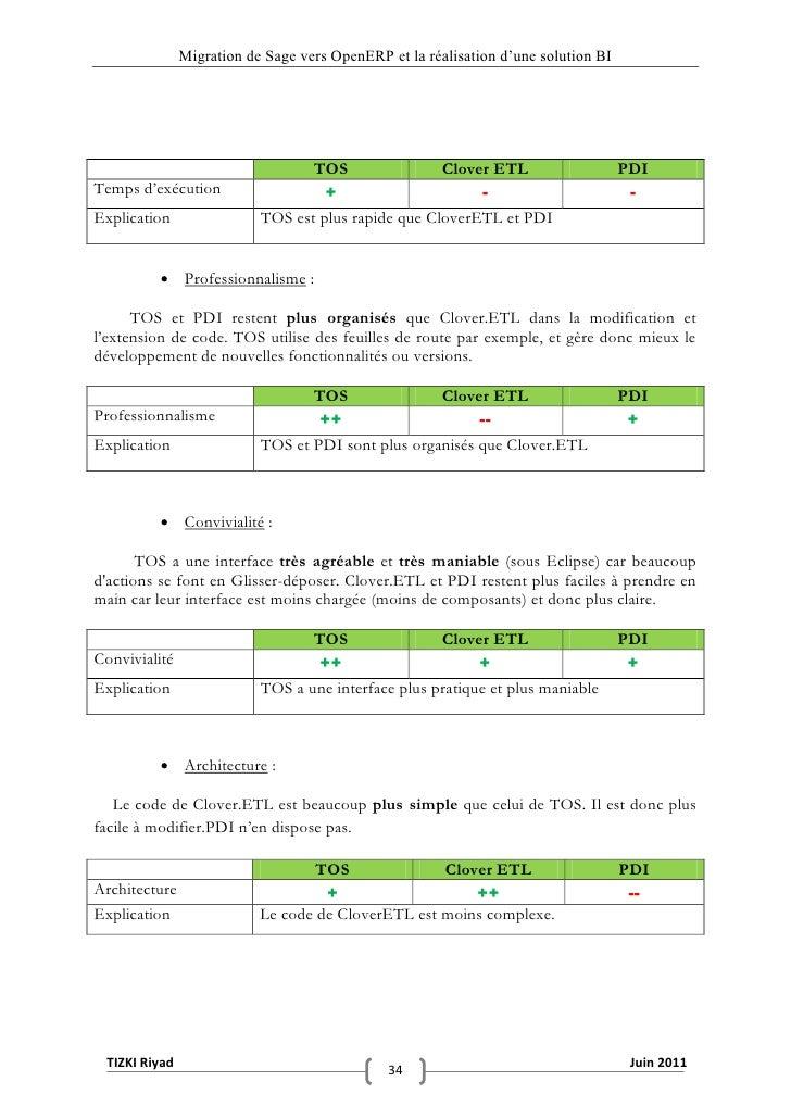 """Migration de Sage vers OpenERP et la réalisation d""""une solution BI                                  TOS                Clo..."""