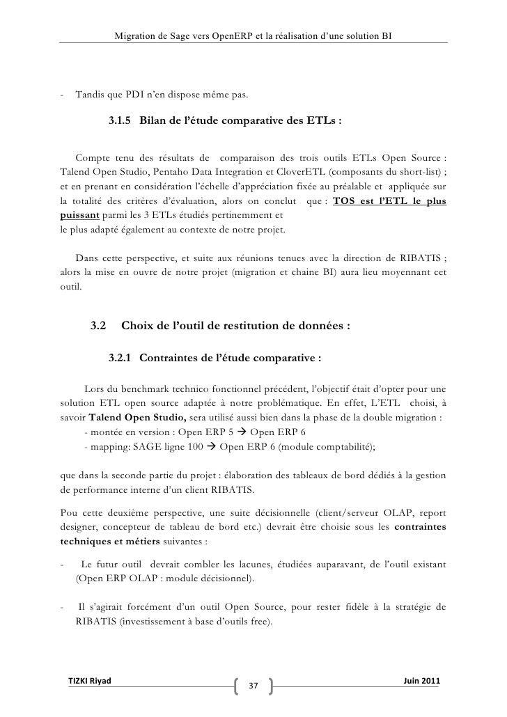"""Migration de Sage vers OpenERP et la réalisation d""""une solution BI-    Tandis que PDI n'en dispose même pas.              ..."""