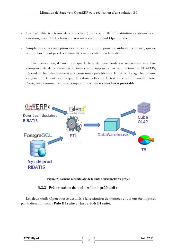 """Migration de Sage vers OpenERP et la réalisation d""""une solution BI-    Compatibilité (en terme de connectivité) de la suit..."""