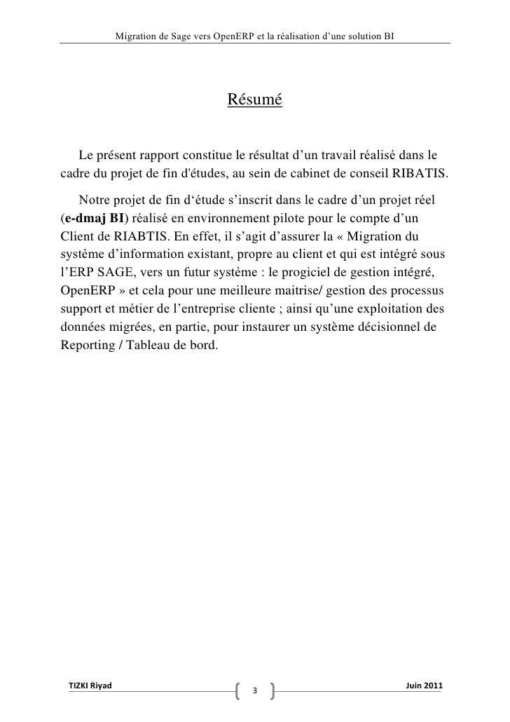 """Migration de Sage vers OpenERP et la réalisation d""""une solution BI                                         Résumé   Le pré..."""