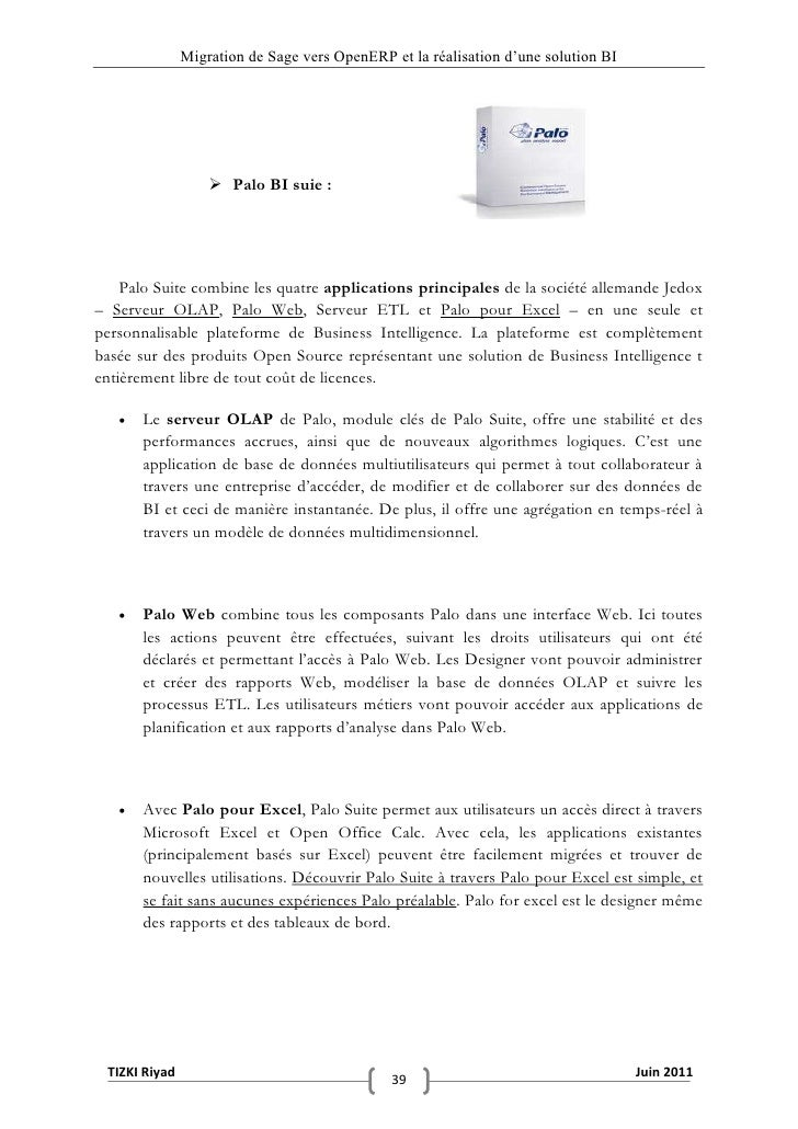 """Migration de Sage vers OpenERP et la réalisation d""""une solution BI                    Palo BI suie :    Palo Suite combin..."""