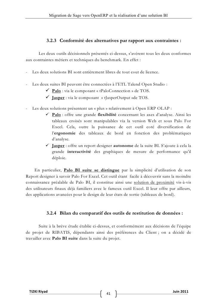 """Migration de Sage vers OpenERP et la réalisation d""""une solution BI              3.2.3 Conformité des alternatives par rapp..."""