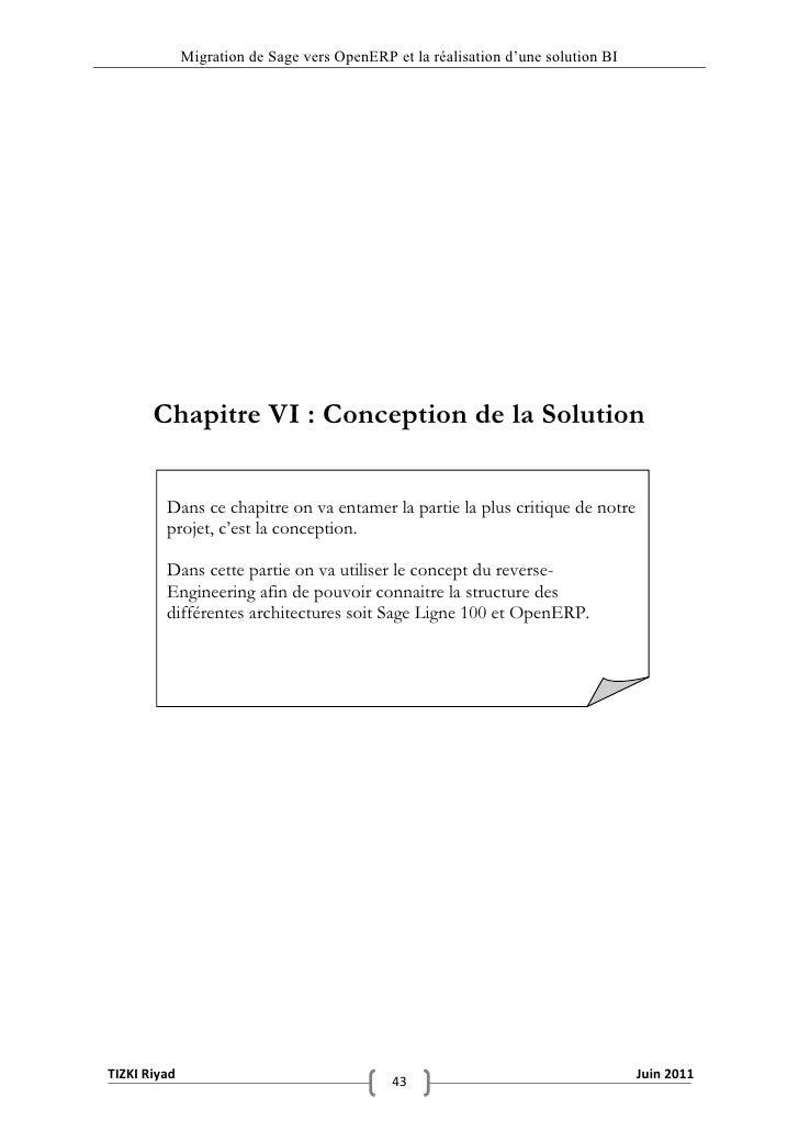 """Migration de Sage vers OpenERP et la réalisation d""""une solution BI       Chapitre VI : Conception de la Solution         D..."""