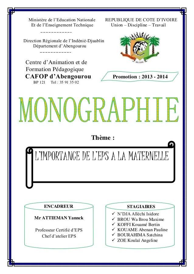 Ministère de l'Education Nationale REPUBLIQUE DE COTE D'IVOIRE Et de l'Enseignement Technique Union – Discipline – Travail...