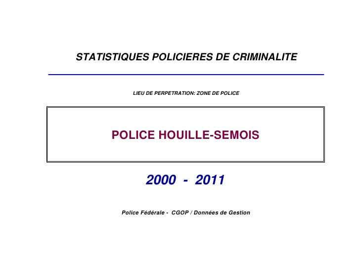 STATISTIQUES POLICIERES DE CRIMINALITE          LIEU DE PERPETRATION: ZONE DE POLICE      POLICE HOUILLE-SEMOIS           ...