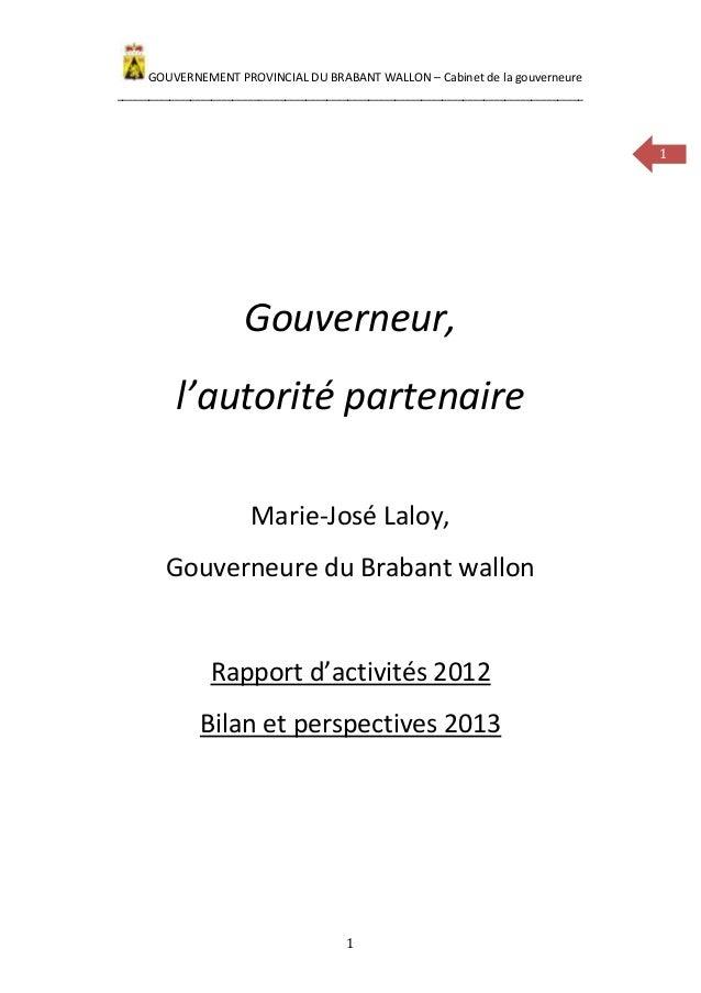 GOUVERNEMENT PROVINCIAL DU BRABANT WALLON – Cabinet de la gouverneure_____________________________________________________...