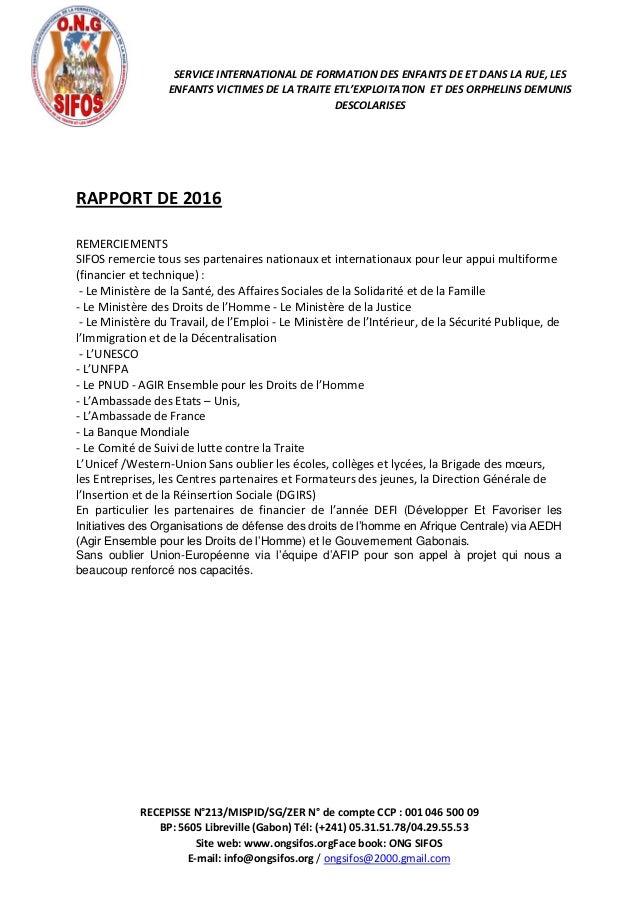 RECEPISSE N°213/MISPID/SG/ZER N° de compte CCP : 001 046 500 09 BP: 5605 Libreville (Gabon) Tél: (+241) 05.31.51.78/04.29....