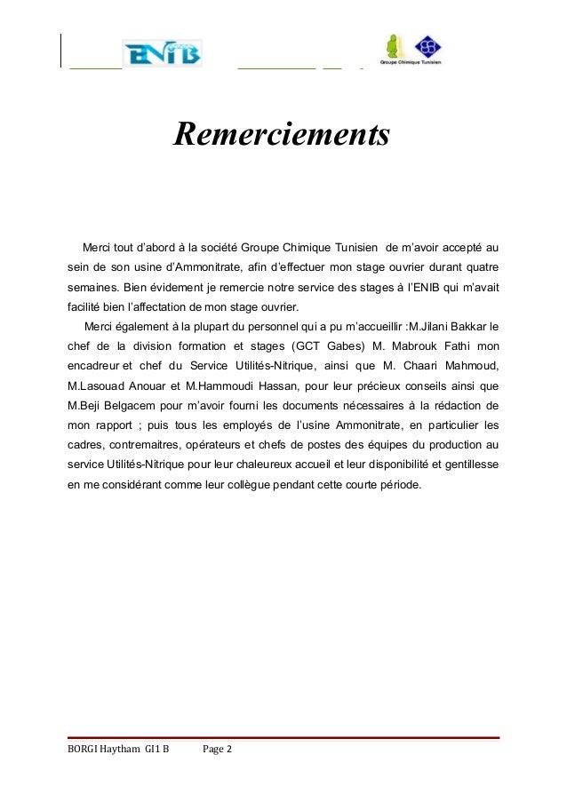 Remerciements Merci tout d'abord à la société Groupe Chimique Tunisien de m'avoir accepté au sein de son usine d'Ammonitra...