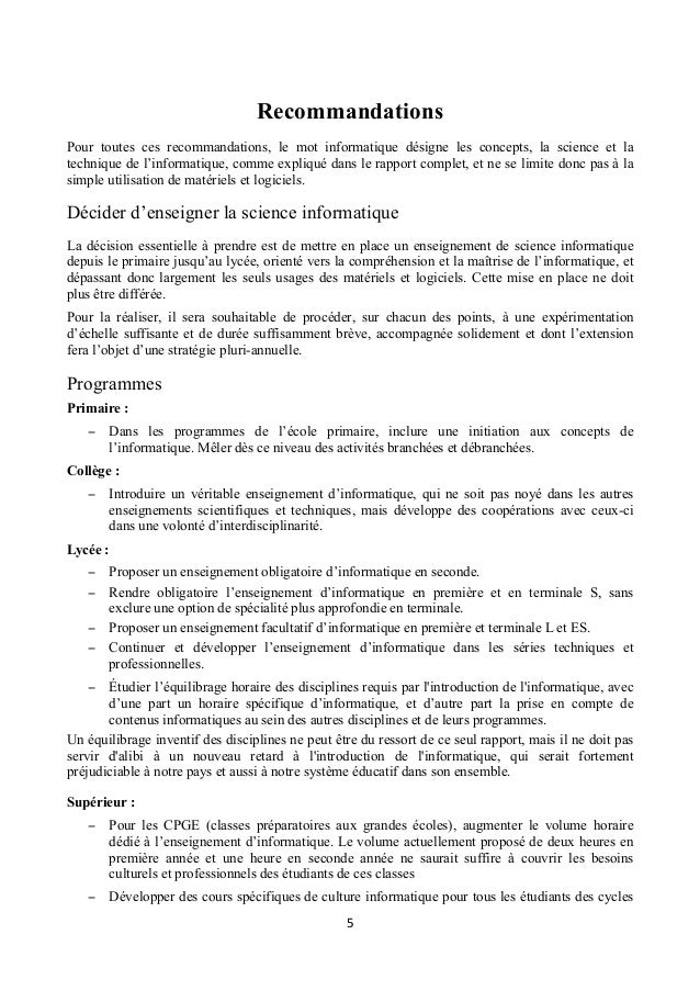 rapport academie sciences 2013   apprentissage de l u0026 39 informatique
