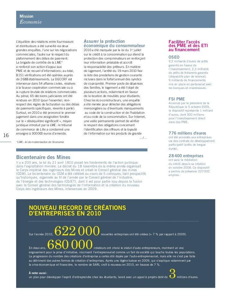 mission       Économie     L'équilibre des relations entre fournisseurs        Assurer la protection                      ...