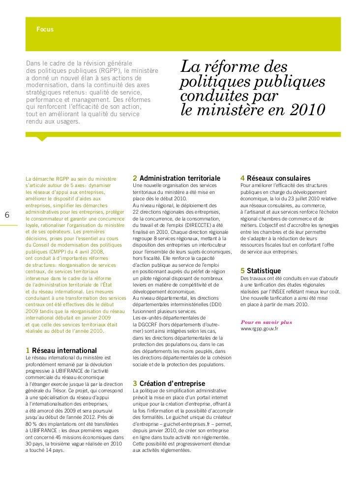 Focus    Dans le cadre de la révision générale    des politiques publiques (RGPP), le ministère                           ...