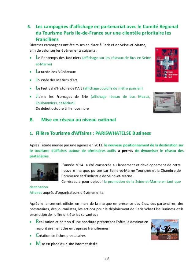 Rapport d 39 activit seine et marne tourisme 2014 - Chambre de commerce et d industrie de seine et marne ...