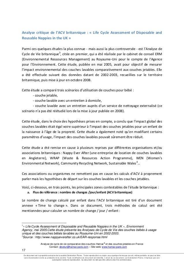 Rapport Acv 2013 Hamac Et Couches Jetables