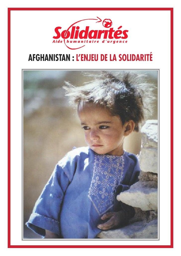 AFGHANISTAN : L'ENJEU DE LA SOLIDARITÉ