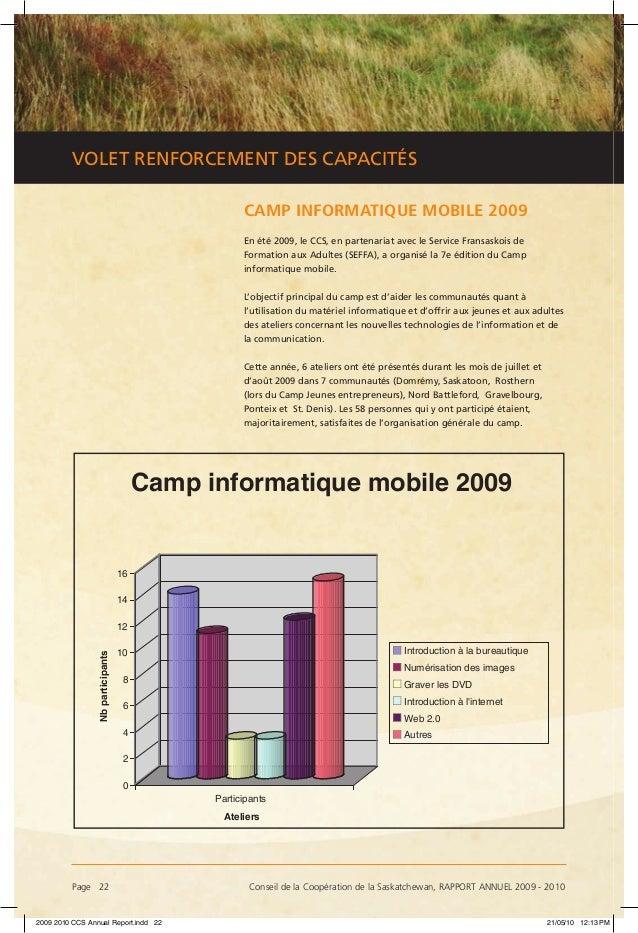 Page 22 Conseil de la Coopération de la Saskatchewan, RAPPORT ANNUEL 2009 - 2010 VOLET RENFORCEMENT DES CAPACITÉS CAMP IN...