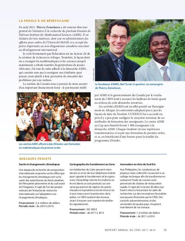 LA PAROLE À UN BÉNÉFICIAIRE En août 2011, ierry Zomahoun a été nommé directeur général de l'initiative À la recherche du ...
