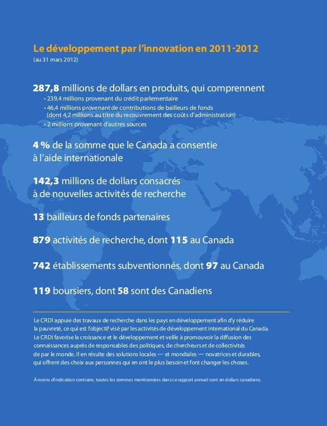 Le développement par l'innovation en 2011-2012 (au 31 mars 2012) 287,8 millions de dollars en produits, qui comprennent • ...