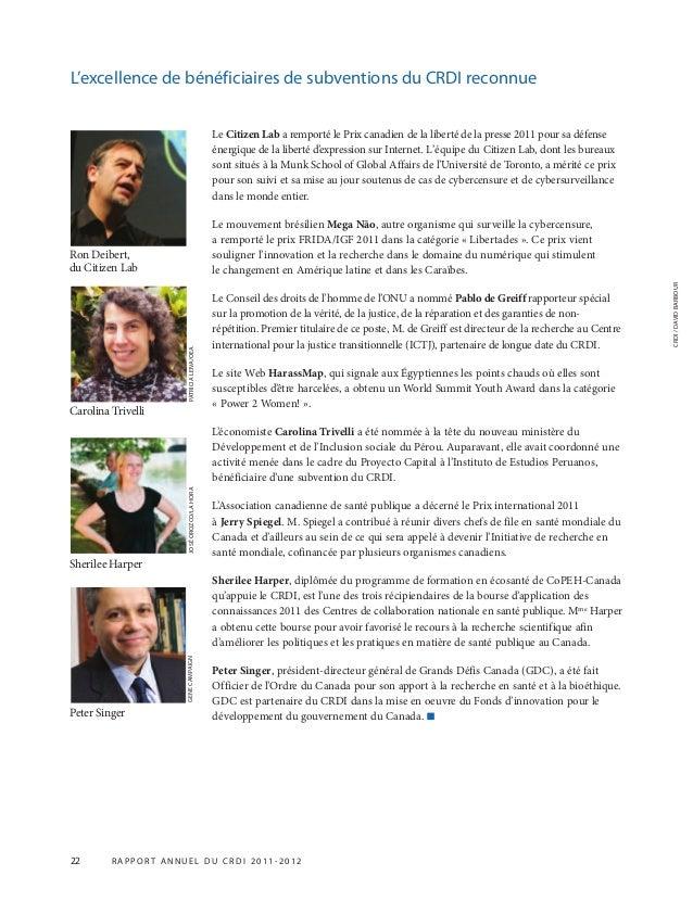 22 R APPOR T ANNUEL DU CRDI 2011-2012 PATRICIALEIVA/OEA Le Citizen Lab a remporté le Prix canadien de la liberté de la pre...