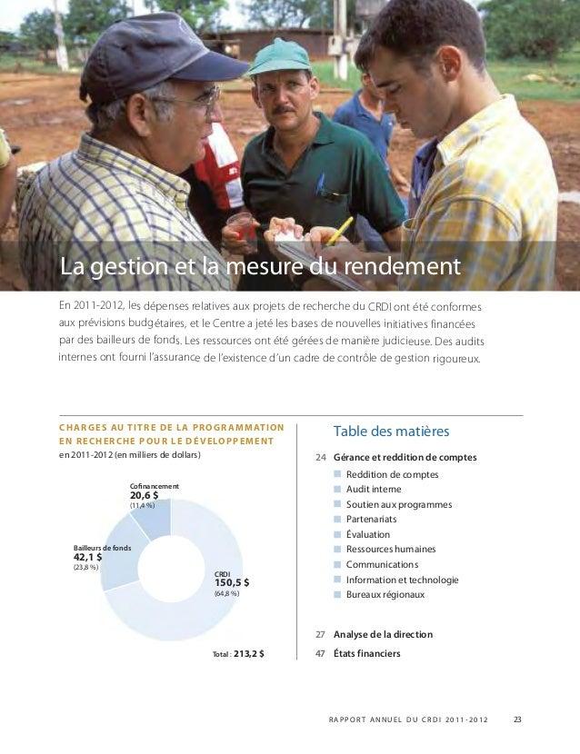 R APPOR T ANNUEL DU CRDI 2011-2012 23 En 2011-2012, les dépenses relatives aux projets de recherche du CRDI ont été confor...