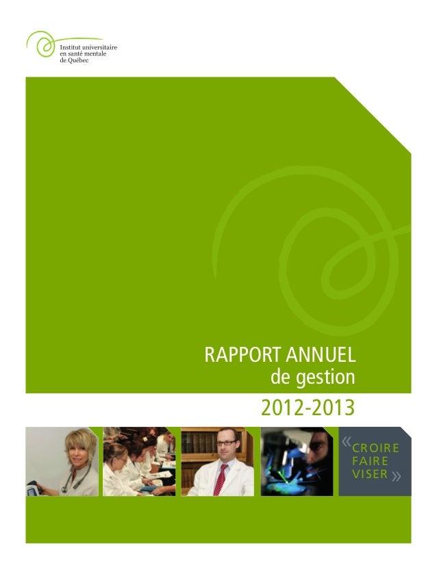 CROIRE FAIRE VISER « » RAPPORT ANNUEL de gestion 2012-2013