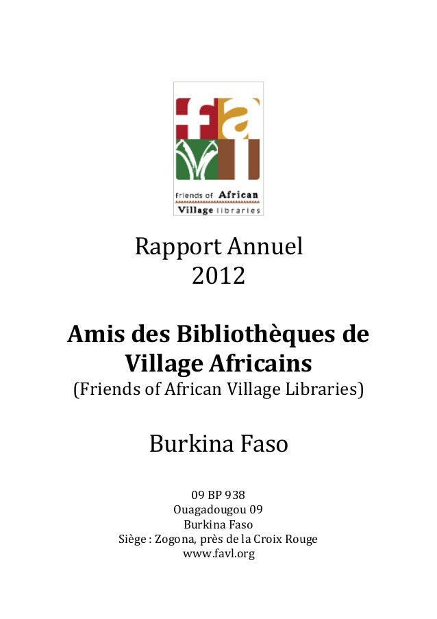 Rapport Annuel           2012Amis des Bibliothèques de    Village Africains(Friends of African Village Libraries)         ...