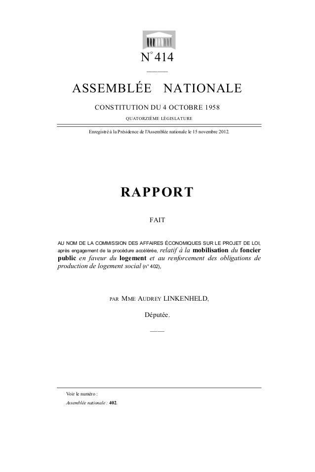 N° 414 ______ ASSEMBLÉE NATIONALE CONSTITUTION DU 4 OCTOBRE 1958 QUATORZIÈME LÉGISLATURE Enregistré à la Présidence de l'A...