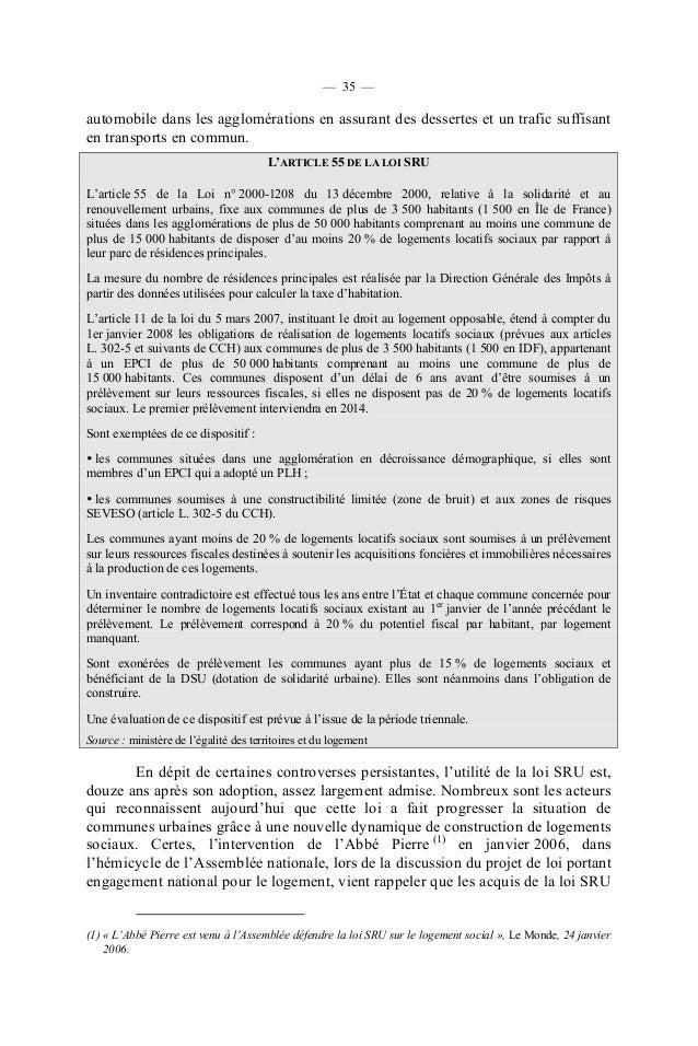 Rapport Sur L Impact De La Loi Sru
