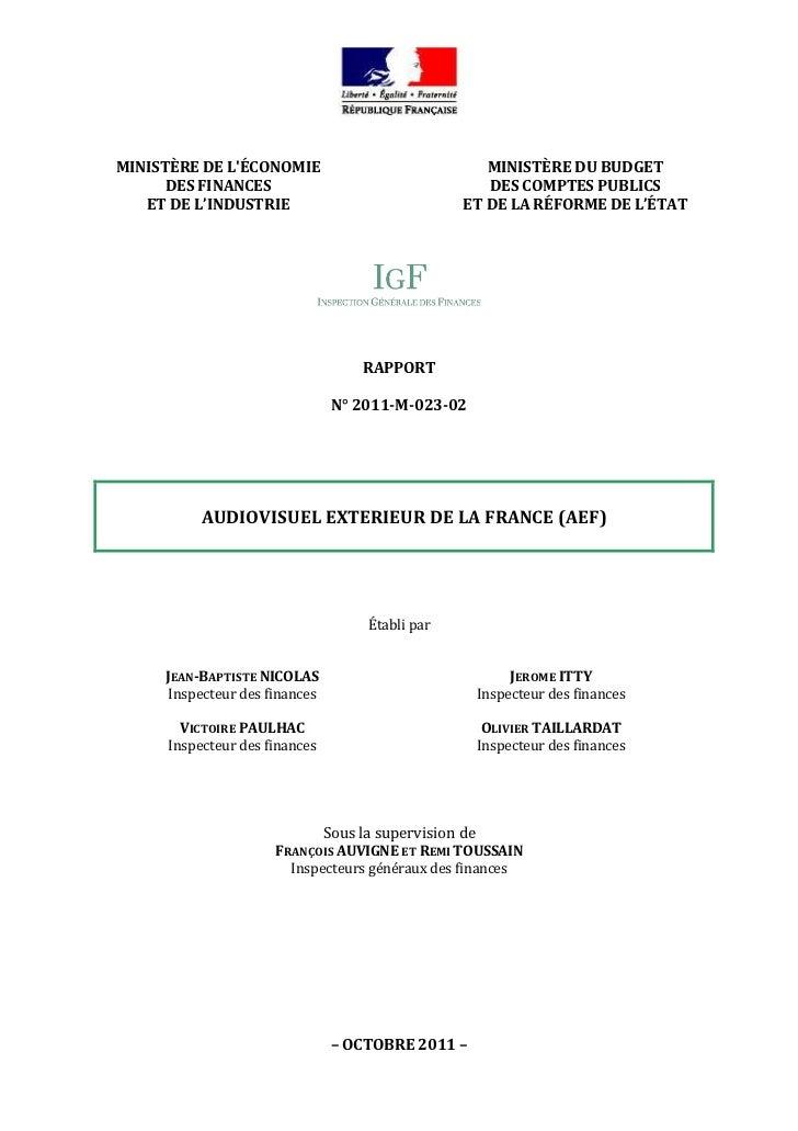 MINISTÈRE DE LÉCONOMIE                               MINISTÈRE DU BUDGET      DES FINANCES                                ...