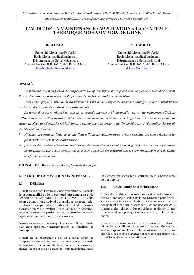 6e Conférence Francophone de MOdélisation et SIMulation - MOSIM'06 - du 3 au 5 avril 2006 – Rabat- Maroc « Modélisation, O...