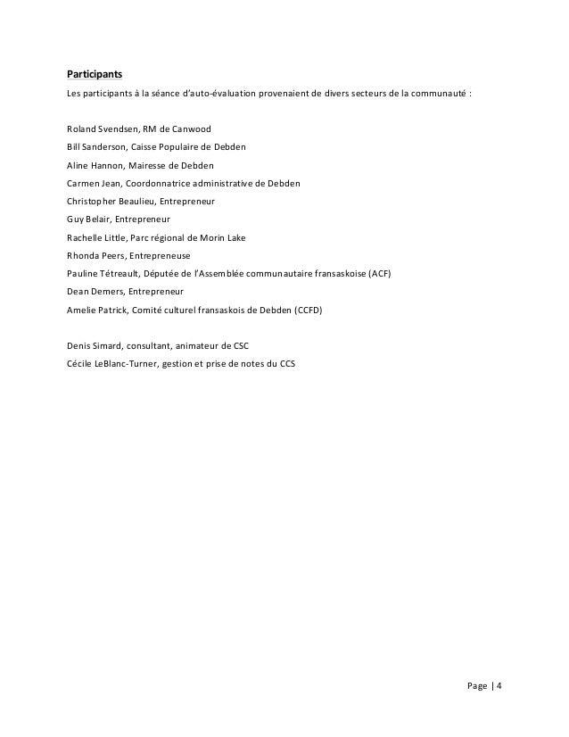 Page  |  4        Participants   Les  participants  à  la  séance  d'auto-‐évaluation  provenaien...