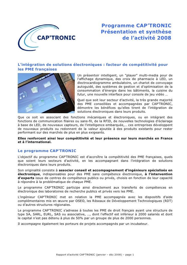 Programme CAP'TRONIC                                                          Présentation et synthèse                    ...