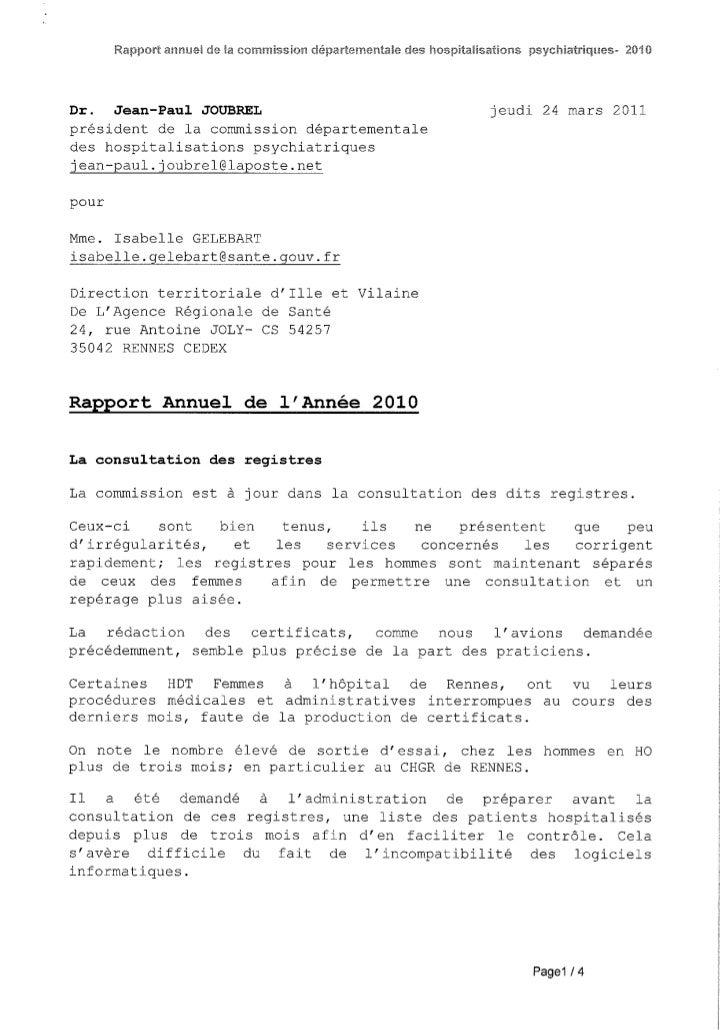 Rapport 2010 CDHP d'Ille et Vilaine