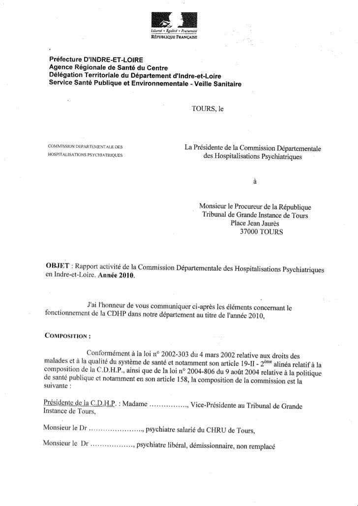 Rapport 2010 CDHP d'Indre et Loire