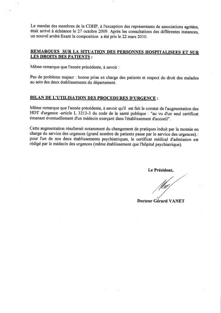 Rapport 2010 CDHP de la Meuse