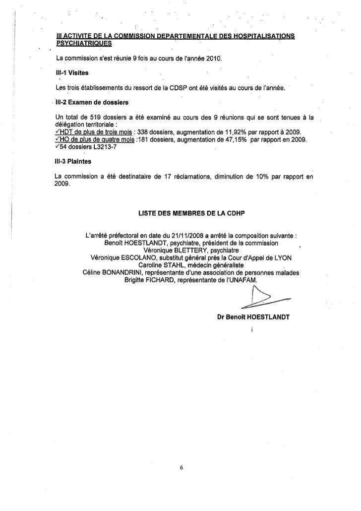 Rapport 2010 CDHP du Rhône
