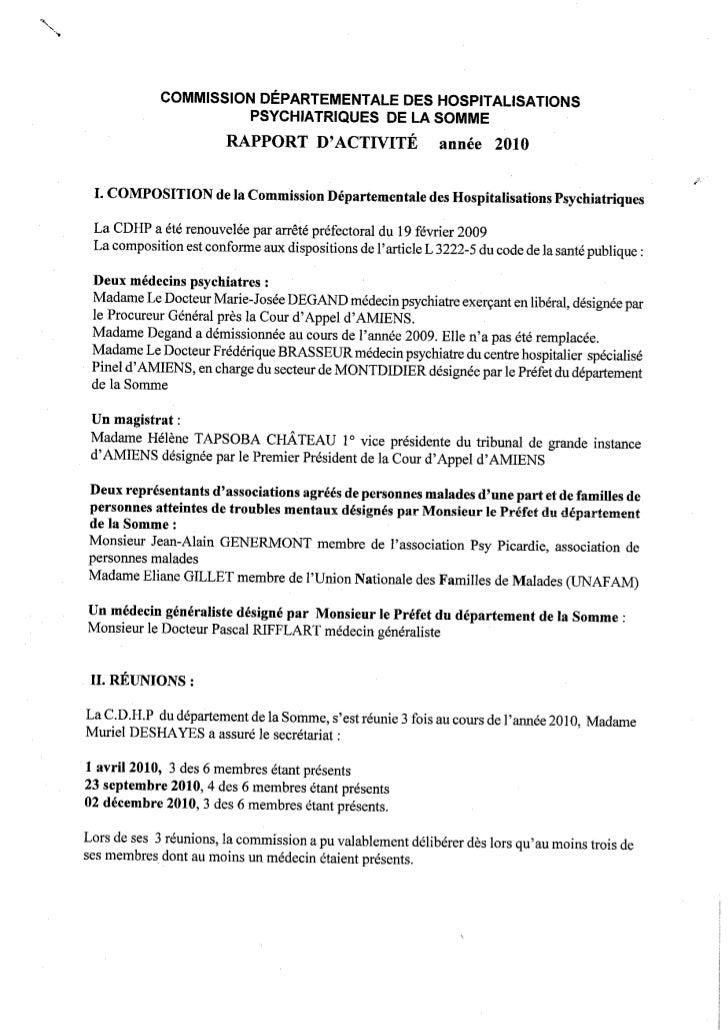 Rapport 2010 CDHP de la Somme