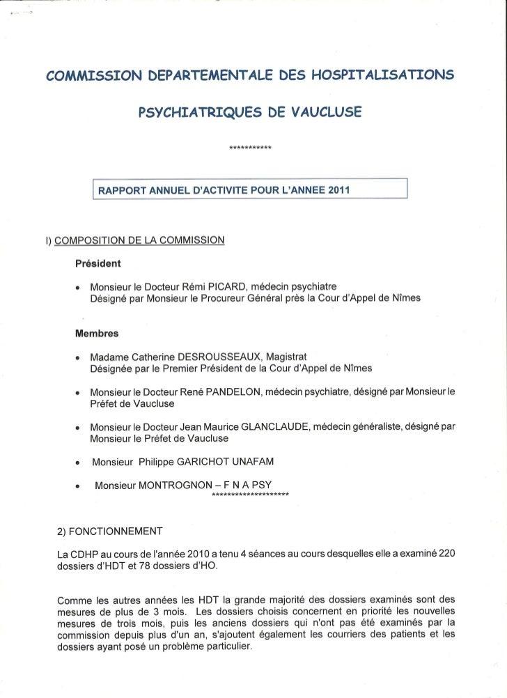 Rapport 2011 de la CDSP du Vaucluse