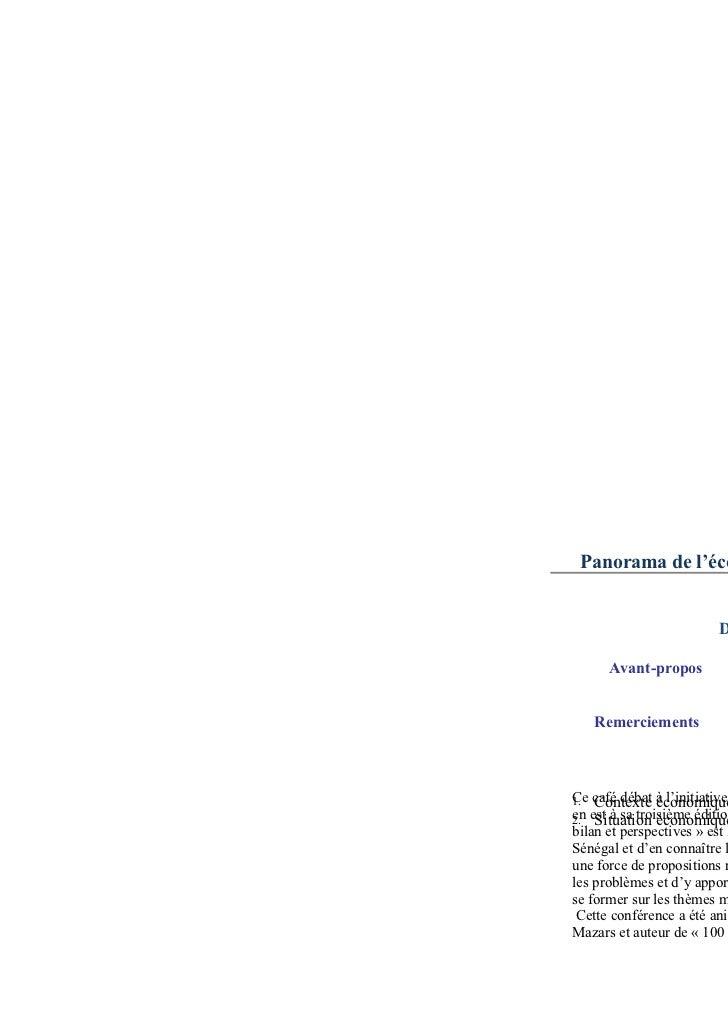 Panorama de l'éco                         D      Avant-propos   RemerciementsCe Contexte à l'initiative1. café débat écono...