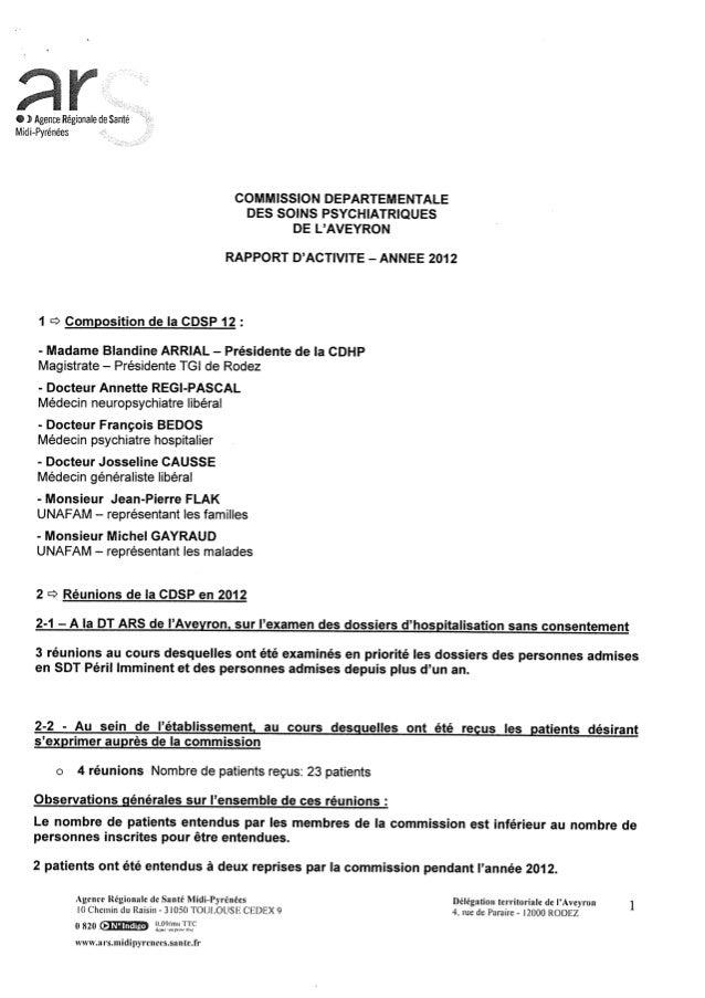 Rapport cdsp   aveyron - 12 - année 2012
